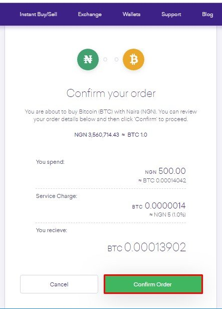 Quidax Confirm Order page