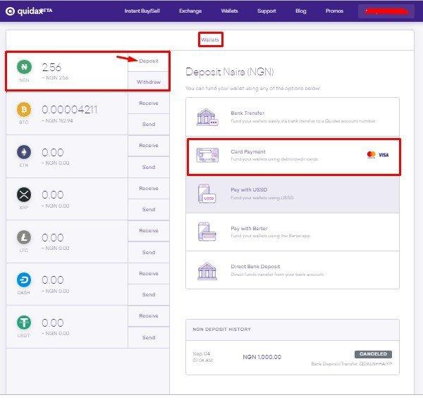 Quidax Wallet Page