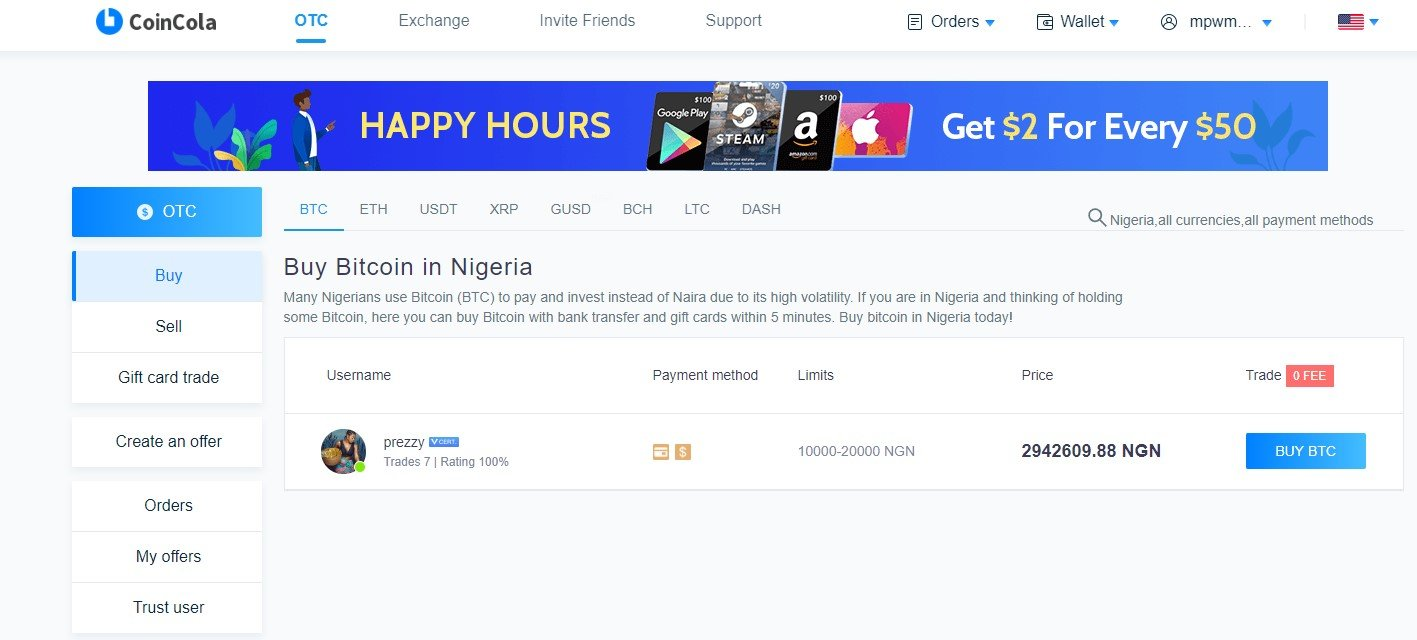 Coincoll review, OTC market place, sell gift card in Nigeria, Buy bitcoin