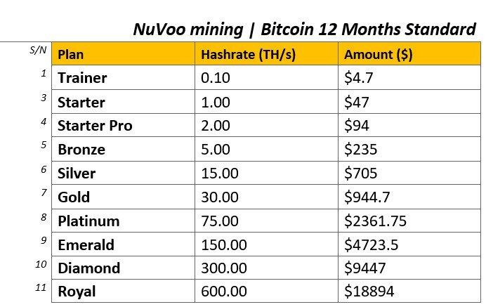 Nuvoo mining bitcoin 12 months standard