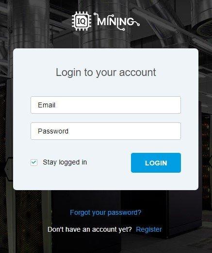 IQ Mining Login Page
