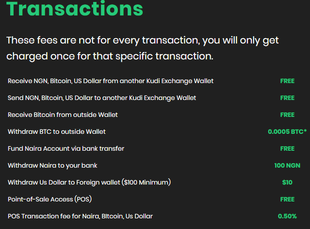 Transaction Fees on First Kudi