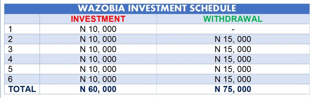 schedule for wazobia investment